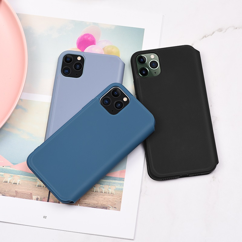 hoco colorful series liquid silicone case for iphone 11pro promax interior black blue purple
