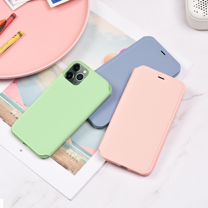 hoco colorful series liquid silicone case for iphone 11pro promax interior pink green purple