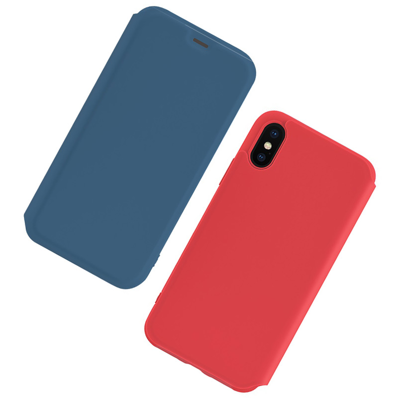 hoco colorful series liquid silicone case for iphone x xs max blue red