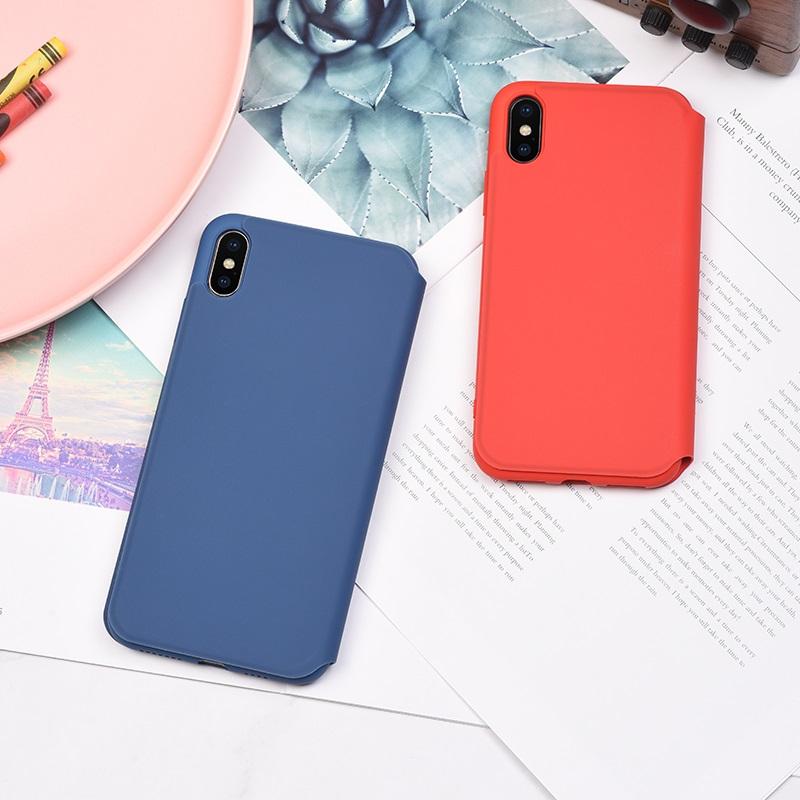 hoco colorful series защитный чехол из жидкого силикона для iphone x xs max интерьер синий красный вид сзади