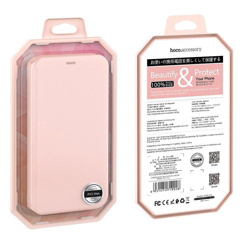 hoco colorful series защитный чехол из жидкого силикона для iphone x xs max упаковка вид спереди сзади