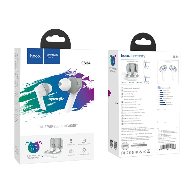 hoco es34 pleasure wireless headset package white
