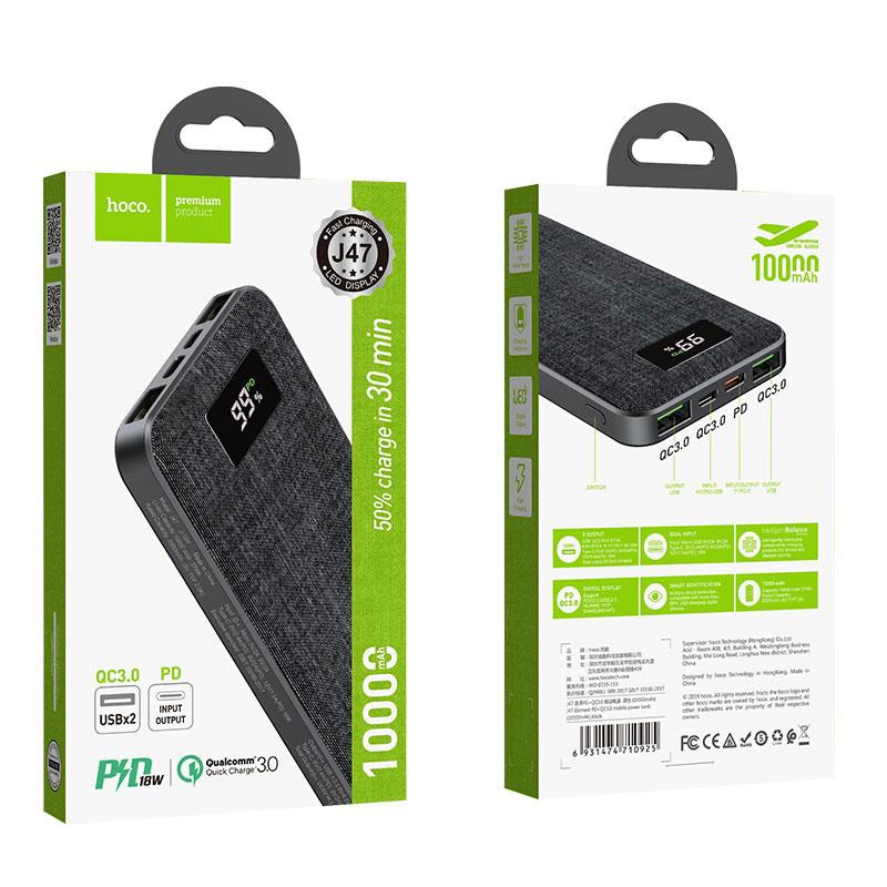 hoco j47 element pd qc30 портативный аккумулятор 10000mah черный упаковка спереди сзади