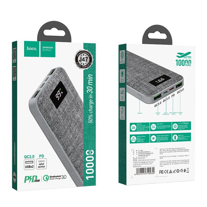 hoco j47 element pd qc30 портативный аккумулятор 10000mah серый упаковка спереди сзади