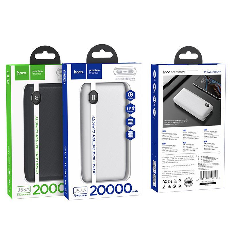 hoco j53a exceptional портативный аккумулятор 20000mah упаковка