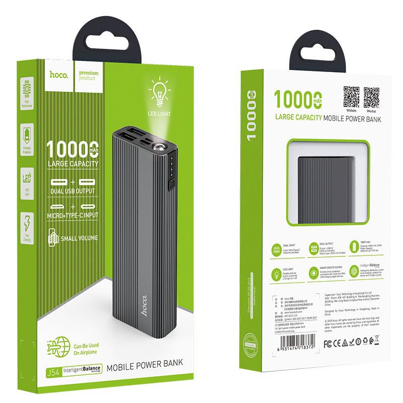hoco j54 spirit power портативный аккумулятор 10000mah упаковка металлик