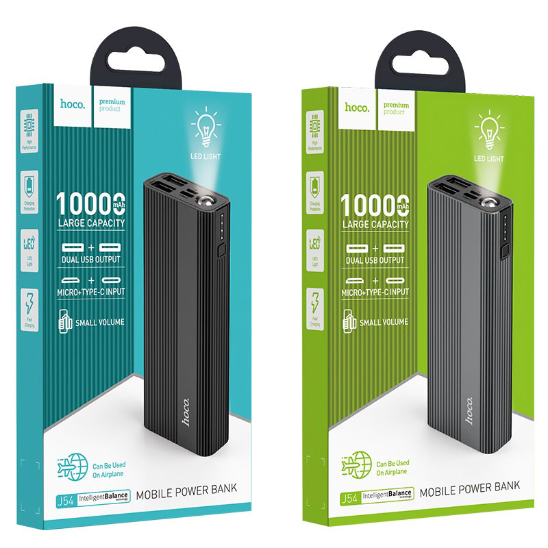 hoco j54 spirit power портативный аккумулятор 10000mah упаковка