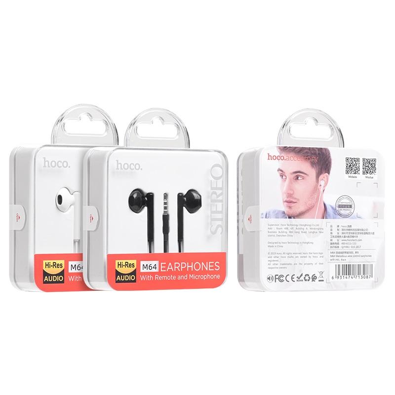 hoco m64 melodious проводные наушники с микрофоном упаковка