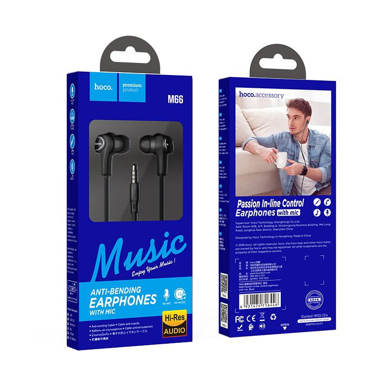 hoco m66 passion проводные наушники с микрофоном упаковка черный