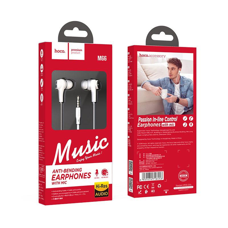 hoco m66 passion проводные наушники с микрофоном упаковка белый
