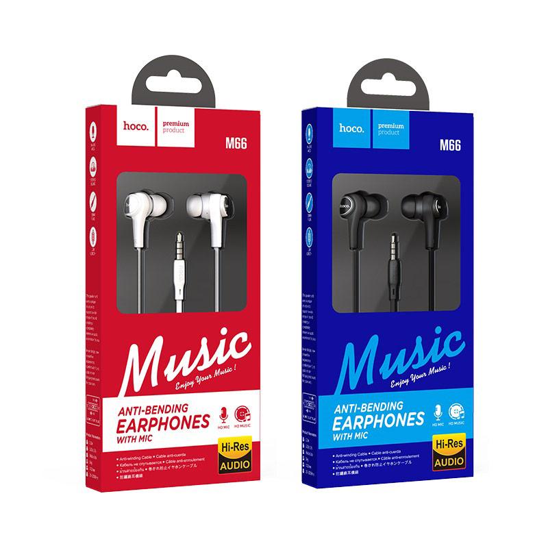 hoco m66 passion проводные наушники с микрофоном упаковка
