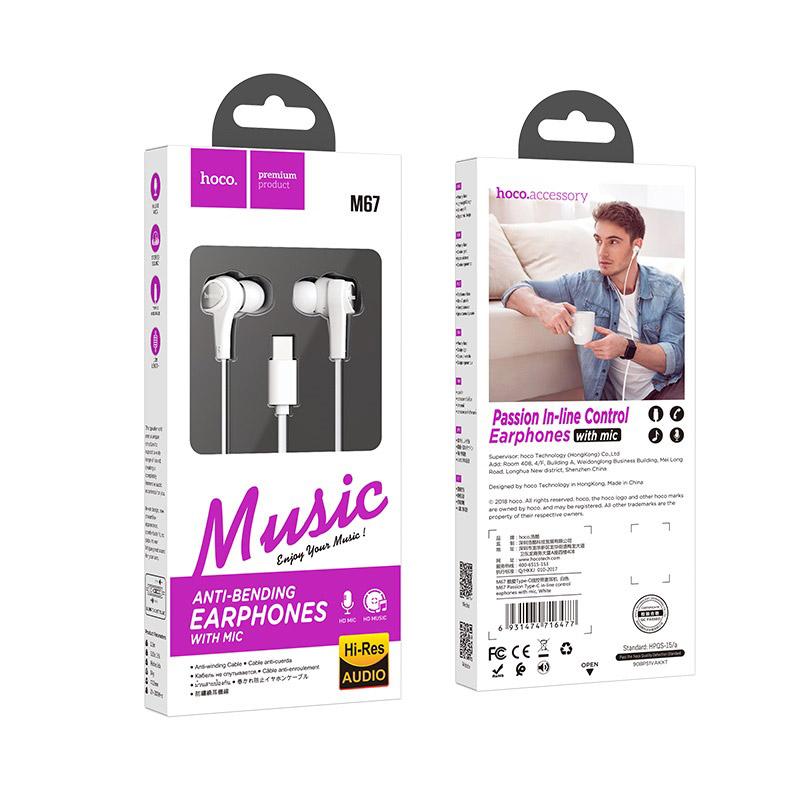 hoco m67 passion type c проводные наушники с микрофоном упаковка белый