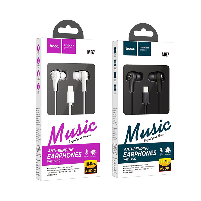 hoco m67 passion type c проводные наушники с микрофоном упаковка