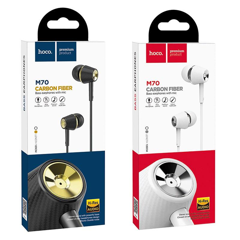 hoco m70 graceful универсальные наушники с микрофоном упаковка
