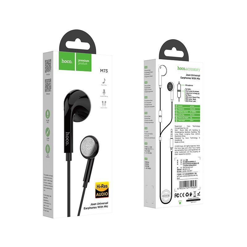 hoco m73 joan универсальные наушники с микрофоном упаковка черный