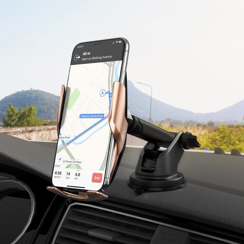 浩酷 s14 灵越自动感应无线充车载支架 安装