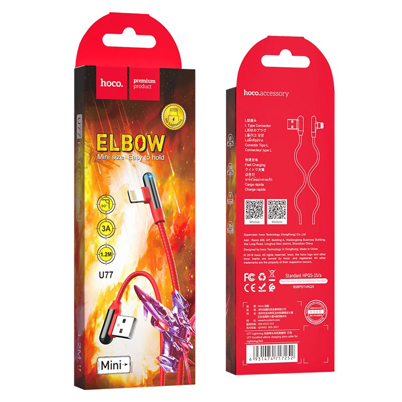 hoco u77 excellent elbow зарядный дата кабель для lightning красный упаковка