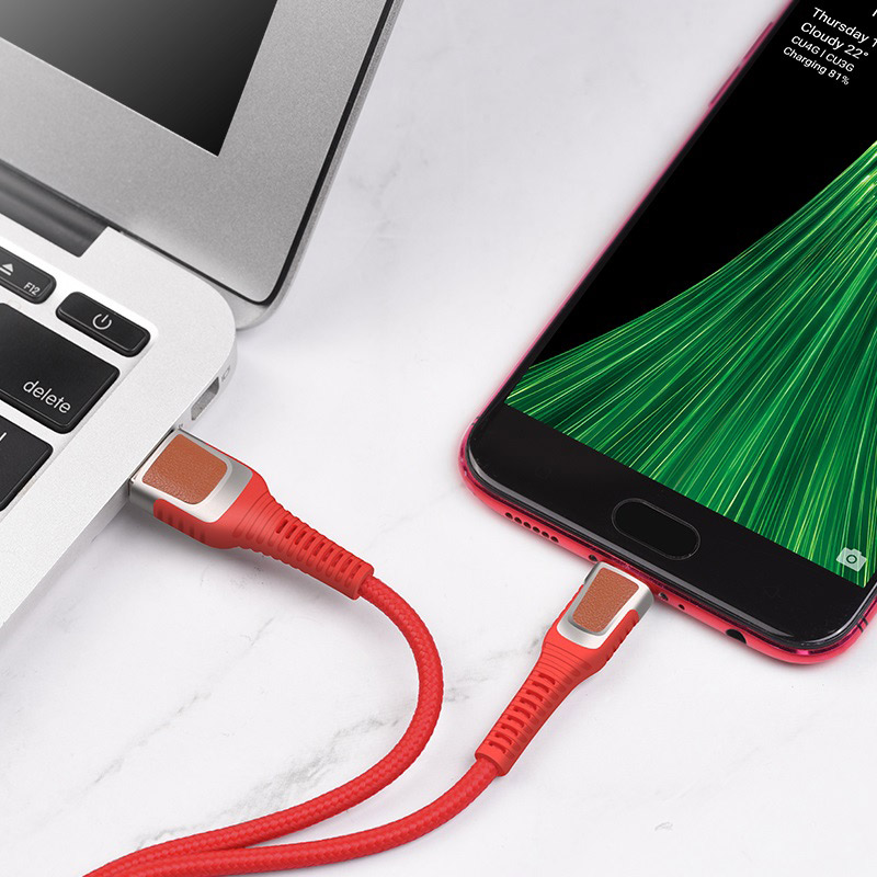 hoco u81 jazz charging data cable for micro usb interior red