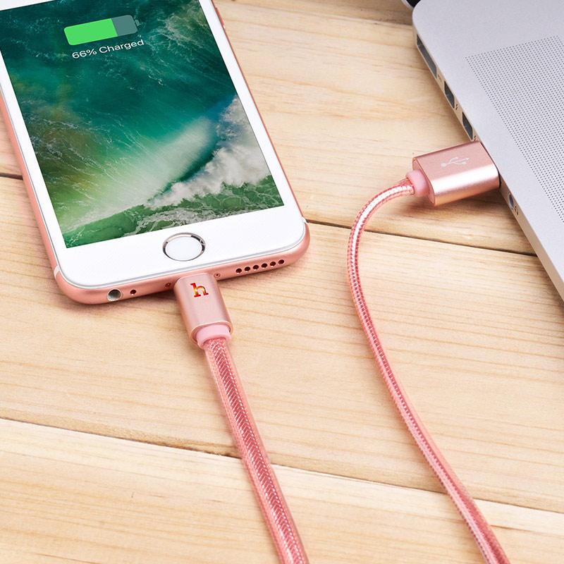 hoco upl12 plus smart light зарядный дата кабель lightning интерьер розовое золото