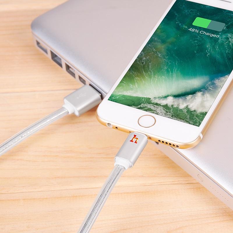 hoco upl12 plus smart light зарядный дата кабель lightning интерьер серебро