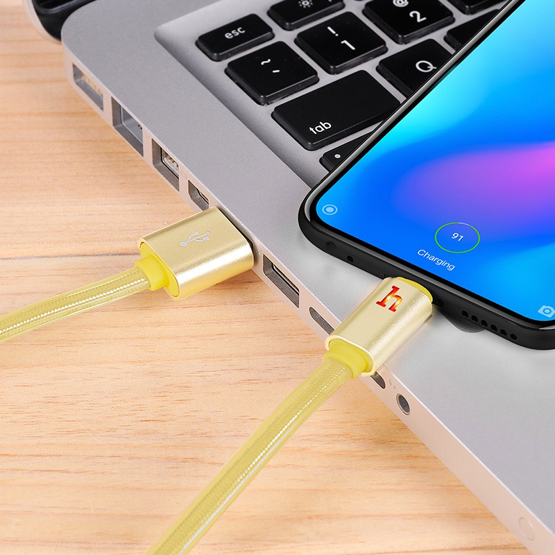 hoco upl12 plus smart light jelly braided charging data cable for type c interior gold