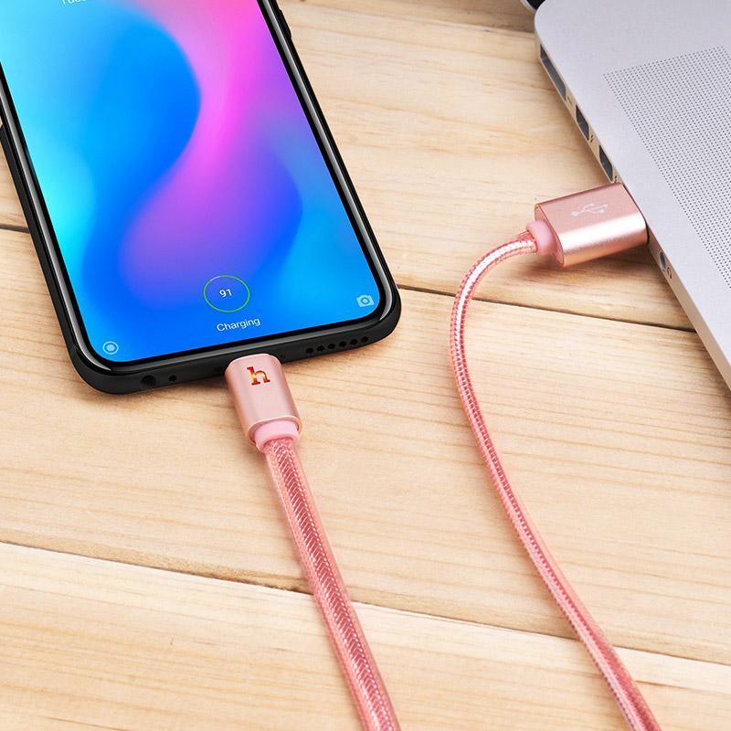 hoco upl12 plus зарядный дата кабель для type c с индикатором интерьер розовое золото