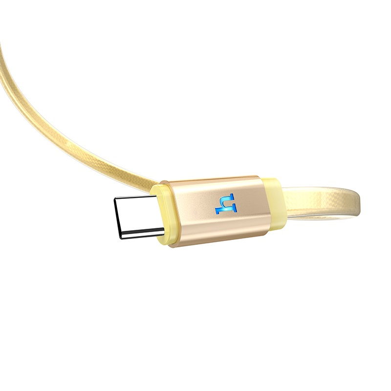 hoco upl12 plus smart light jelly braided charging data cable for type c logo