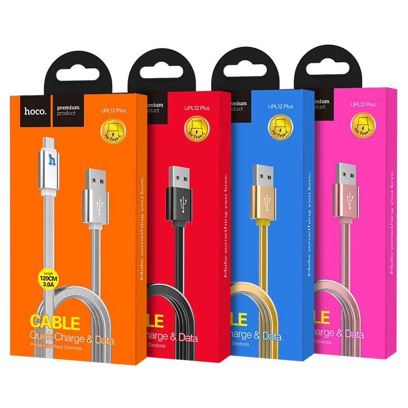 hoco upl12 plus зарядный дата кабель для type c с индикатором упаковка