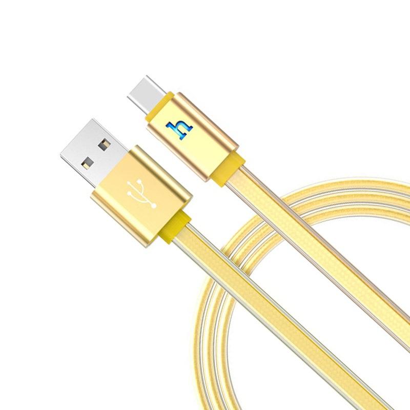 hoco upl12 plus зарядный дата кабель для type c с индикатором