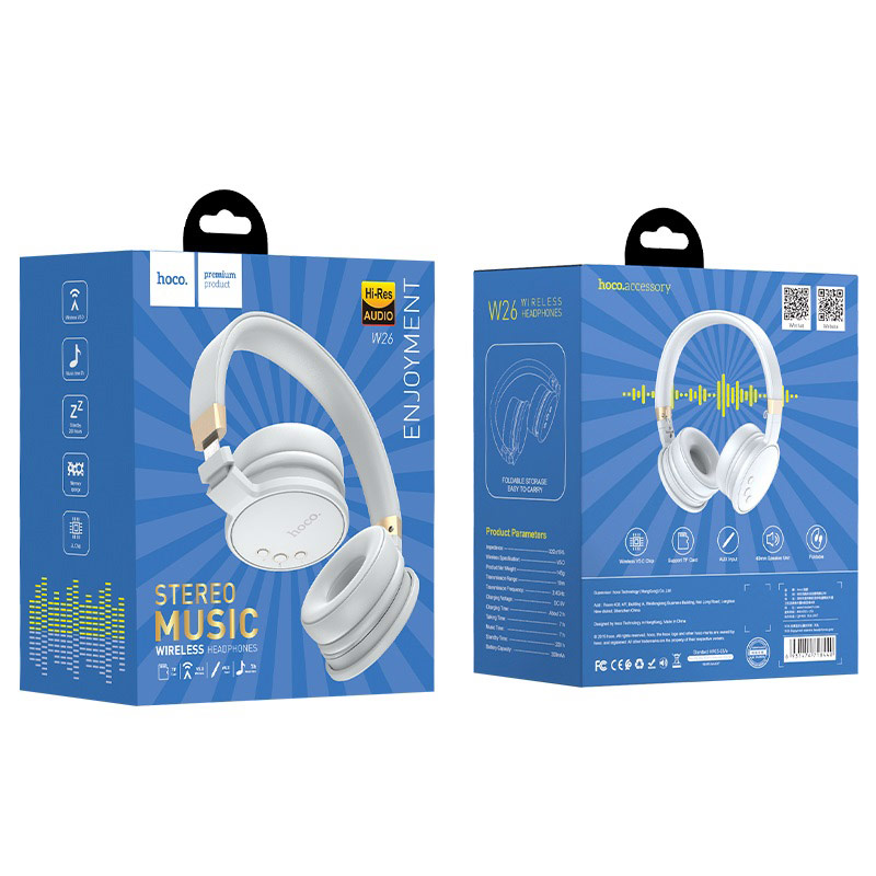 hoco w26 enjoyment wireless headphones package front back gray