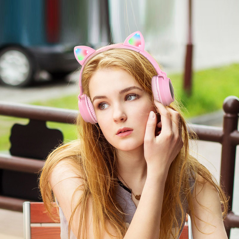 hoco w27 cat ear wireless headphones girl
