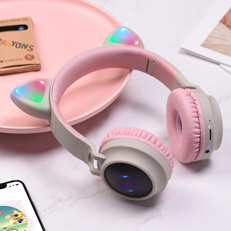 hoco w27 cat ear wireless headphones interior gray
