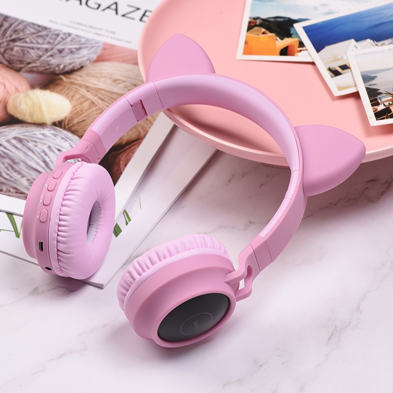 hoco w27 cat ear wireless headphones interior pink