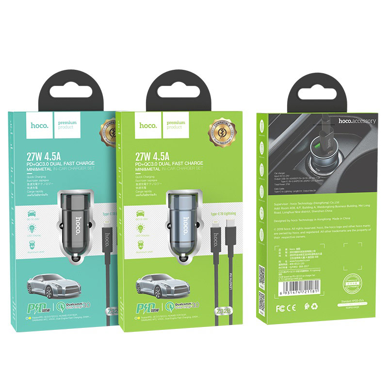 hoco z32b speed up pd qc30 car charger set with type c to lightning cable package