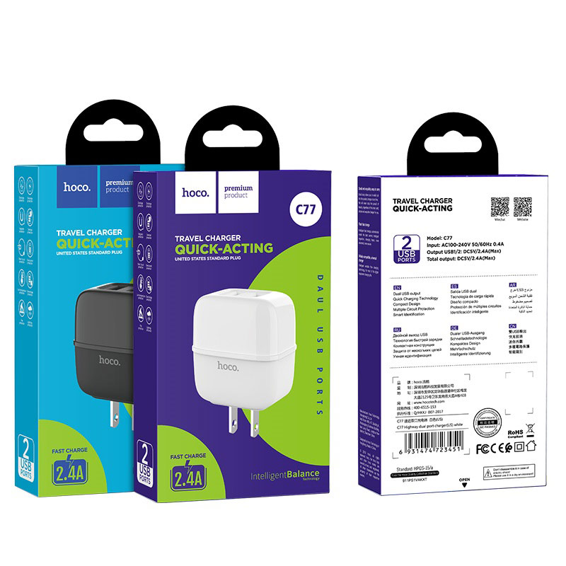 hoco c77 highway dual port wall charger us package
