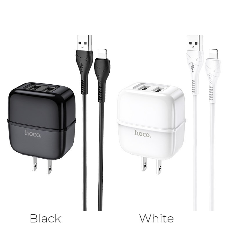 hoco c77 highway dual port wall charger us set lightning cable colors