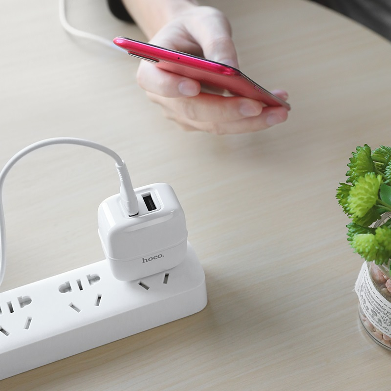 hoco c77 highway dual port wall charger us set micro usb cable interior white