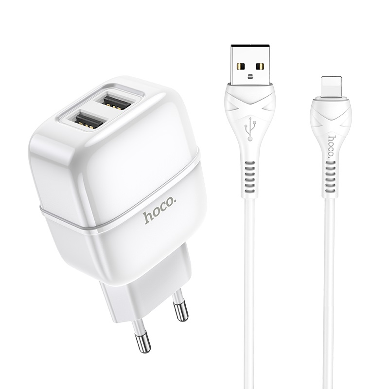 hoco c77a highway dual port charger eu set with lightning cable kit