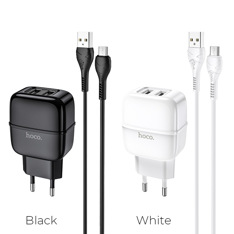 hoco c77a highway dual port charger eu set with micro usb cable colors
