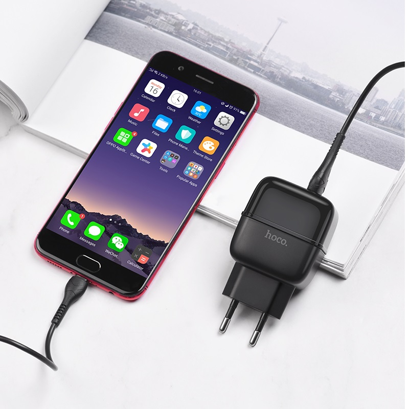 hoco c77a highway dual port charger eu set with micro usb cable interior