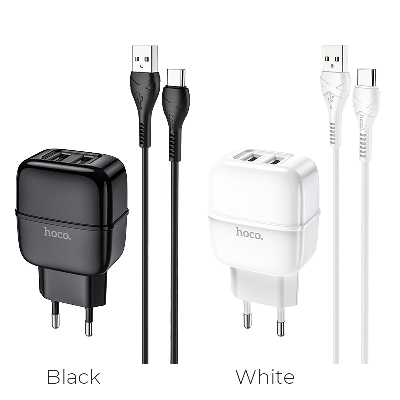 hoco c77a highway dual port charger eu set with type c cable colors