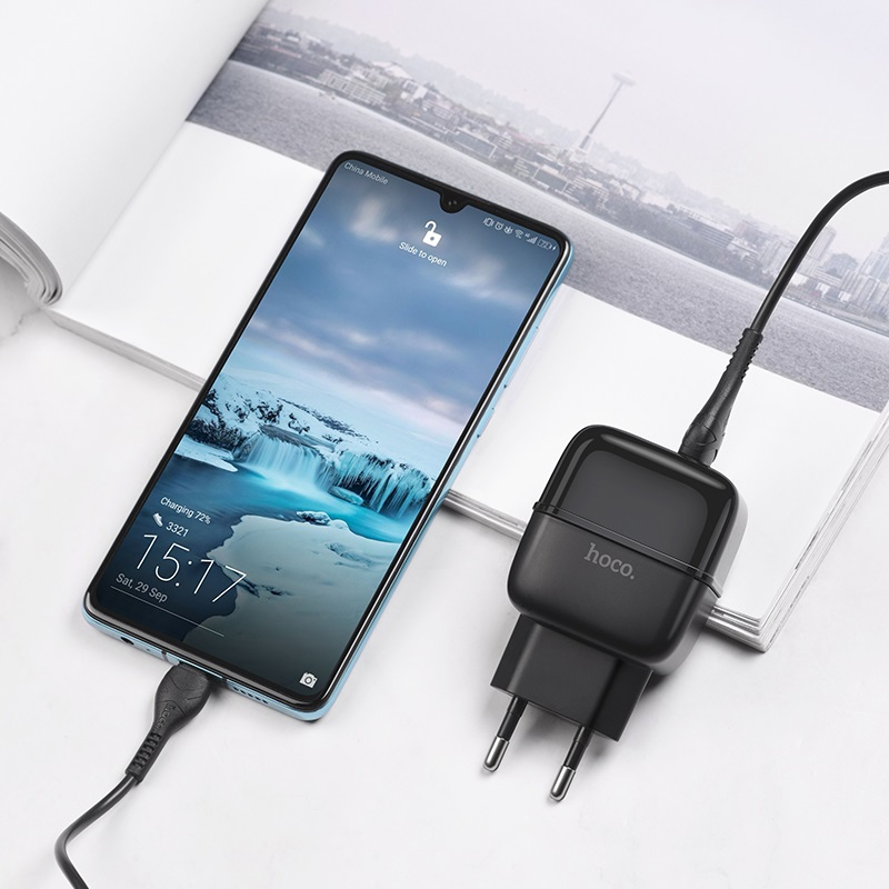 hoco c77a highway dual port charger eu set with type c cable interior