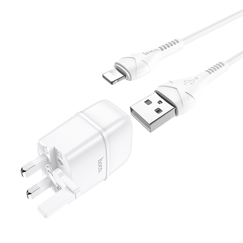 hoco c77b highway dual port charger uk set with lightning cable connectors