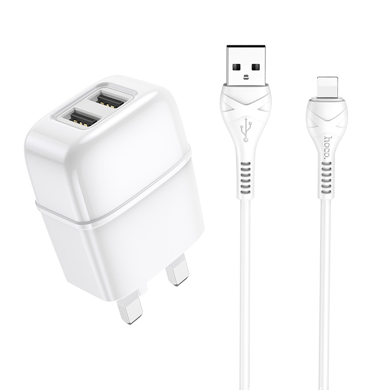 hoco c77b highway dual port charger uk set with lightning cable kit