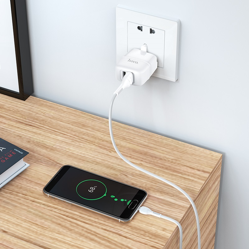 hoco c77b highway dual port charger uk set with micro usb cable charging