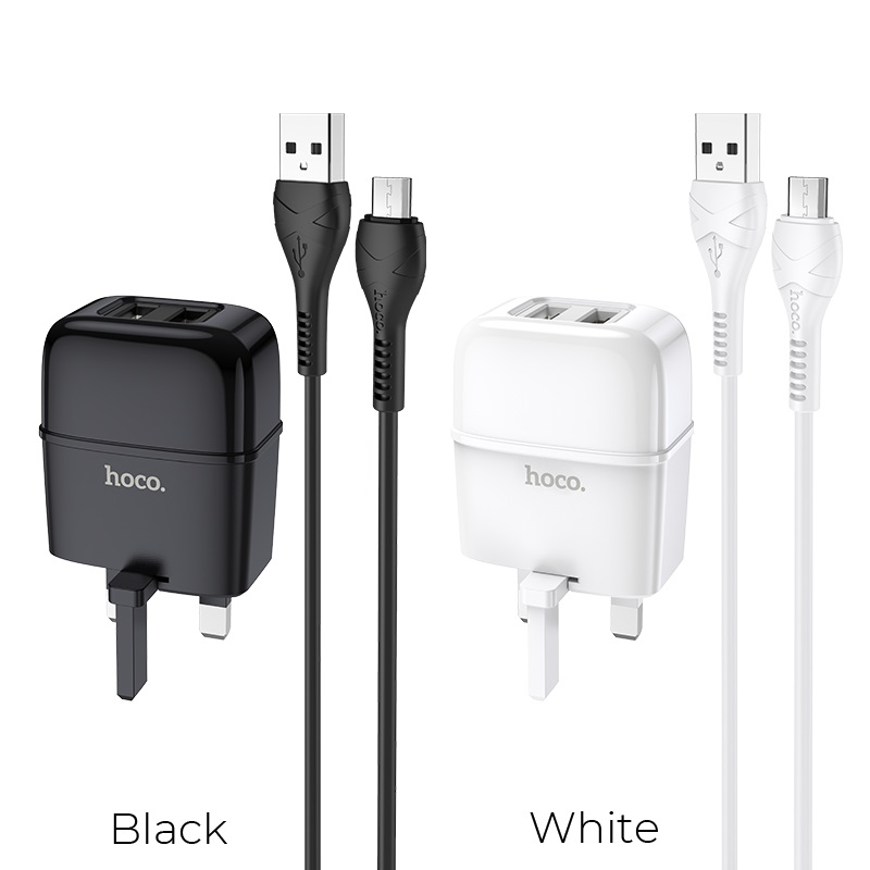 hoco c77b highway dual port charger uk set with micro usb cable colors