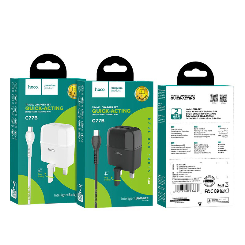 hoco c77b highway dual port charger uk set with micro usb cable packages