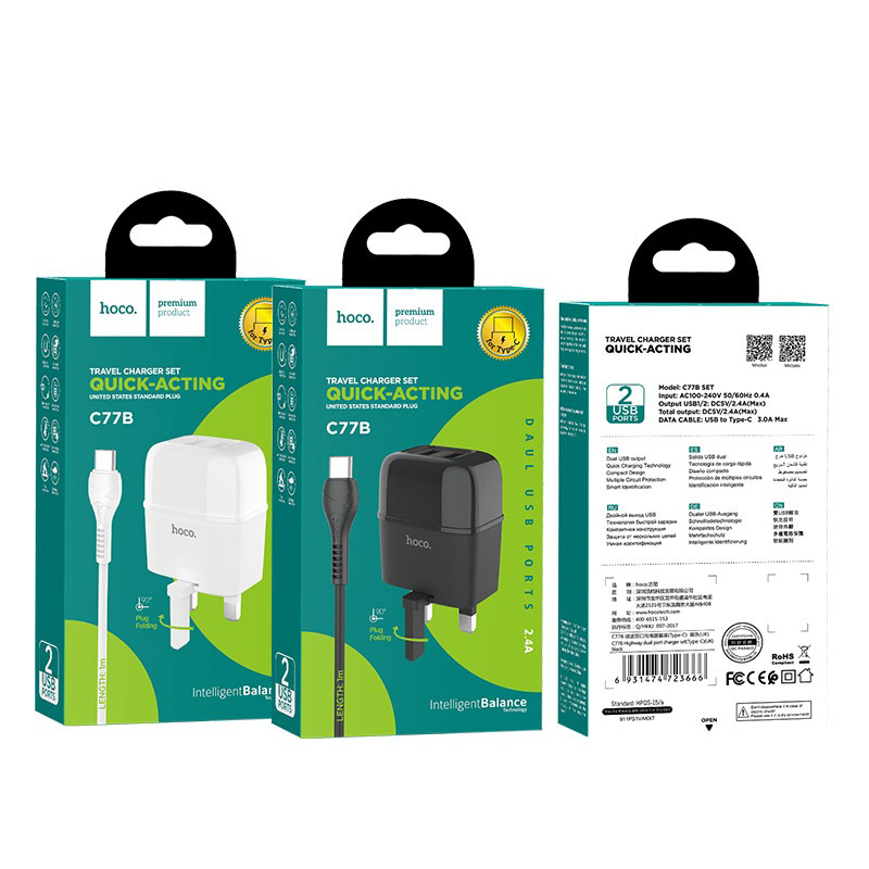 hoco c77b highway dual port charger uk set with type c cable packages