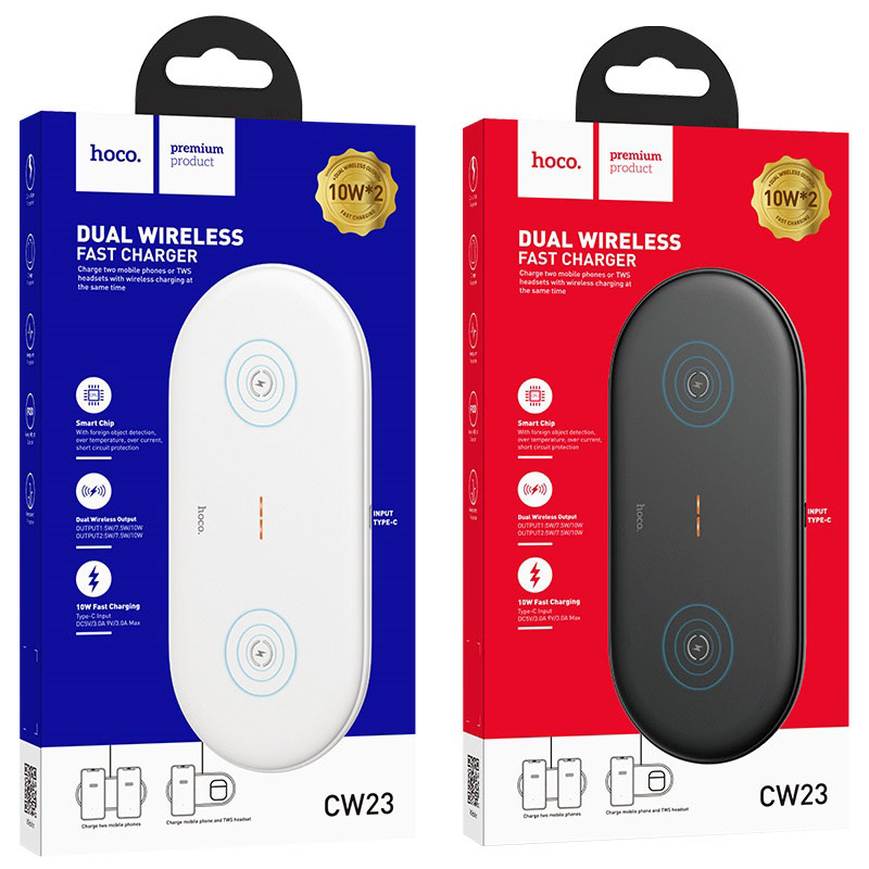 hoco cw23 dual power wireless fast charger packages