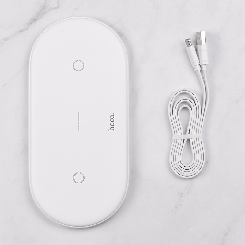 hoco cw23 dual power wireless fast charger wire white
